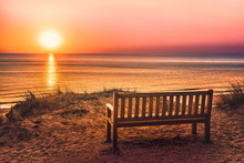 Empty Bench Near The Beach At Sunset On The Island Of Sylt