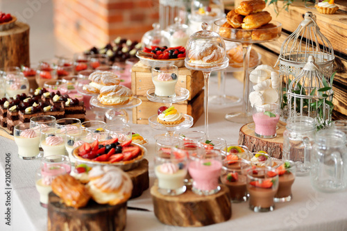 Fotografía Catering sweets, closeup of various kinds of fruit pastry on event or wedding re