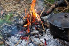 Сauldron On A Bonfire. Outdoo...