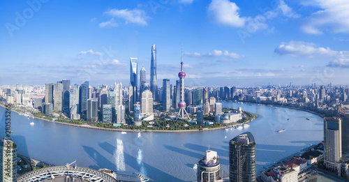 Panorama view of Shanghai city. Wallpaper Mural