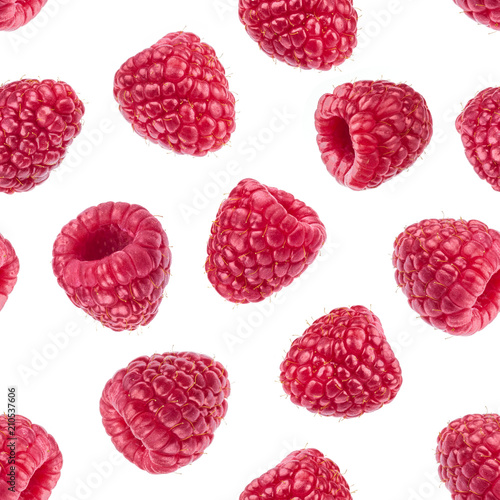 Raspberry isolated on white background. Seamless pattern