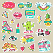 Fun Fashion Teenage Stickers. Cute Cartoons Patches For Teenager. Sticker Pack Vector Illustration Set