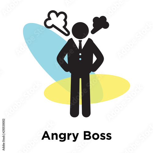 Angry Boss icon vector sign and symbol isolated on white background, Angry Boss Poster