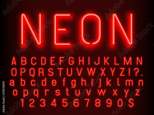 Bar or Casino glowing sign elements. Red neon letters and numbers with fluorescent light vector illustration