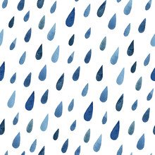 Watercolor Blue Raindrops Seam...