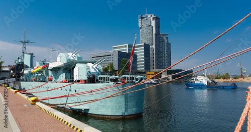 Tuinposter Poort Image of port area at Baltic Sea in old city Gdynia in Poland