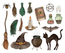 Watercolor Sketch Halloween Se...