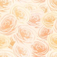 Bright Yellow And Orange Rosebuds, Flower Seamless Pattern