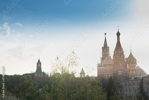 Photo  Beautiful panorama day view of Moscow Kremlin with Saint Basil's Cathedral over