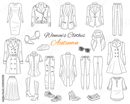 Photo Women's clothes collection. Vector sketch illustration.