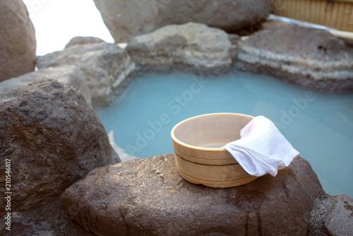 Foto op Plexiglas Japan Private open air bath in Japan 貸切の露天岩風呂