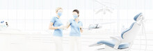 Dental Clinic Interior With Doctors, Blurred Background For Copy Space Template