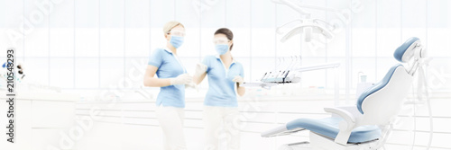 Fotografía  dental clinic interior with doctors, blurred background for copy space template