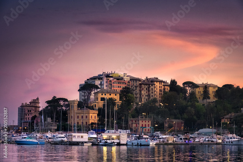 Deurstickers Noord Europa North Italy sea village sunset vignette purple sky - Rapallo - Genoa -italian riviera