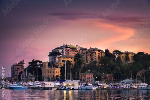 Spoed Foto op Canvas Noord Europa North Italy sea village sunset vignette purple sky - Rapallo - Genoa -italian riviera