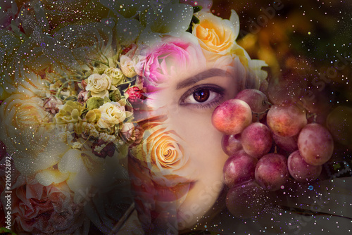Autumn background, the woman with flowers and grapes