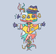 The Magic Scarecrow In The Hat. Cartoon Illustration For Print And Web. Character In The Modern Graphic Style.