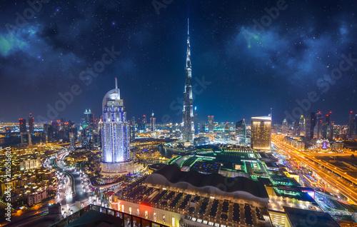 Fotografie, Obraz  Amazing night dubai downtown skyline, Dubai, Emirates