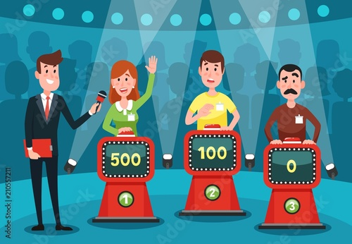 Obraz Young people guessing quiz questions. Intellectual game show studio with buttons on stands vector illustration - fototapety do salonu
