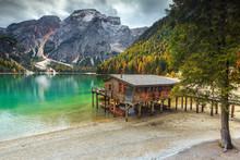 Wonderful Wooden Boathouse On The Alpine Lake, Dolomites, Italy, Europe