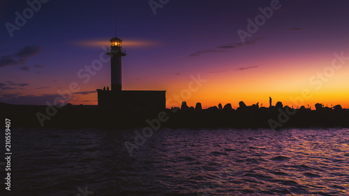 Foto op Plexiglas Aubergine Aerial view of lighthouse at sunset in Varna, Bulgaria