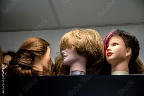 Obraz na plátně Têtes à coiffer - Apprentissage coiffure