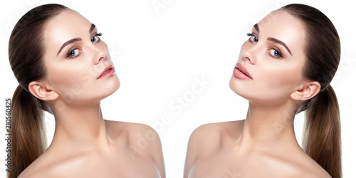 Female face, present before and after lips filler injections Wallpaper Mural