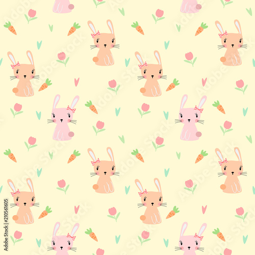 Foto op Aluminium Kunstmatig Cute bunny and flower seamless pattern vector.