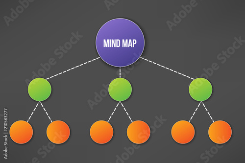 Creative vector illustration of mind map infographic template isolated on transparent background with place for your content Canvas Print