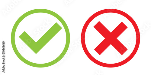 Photo  Creative vector illustration of green tick, red cross isolated on transparent background