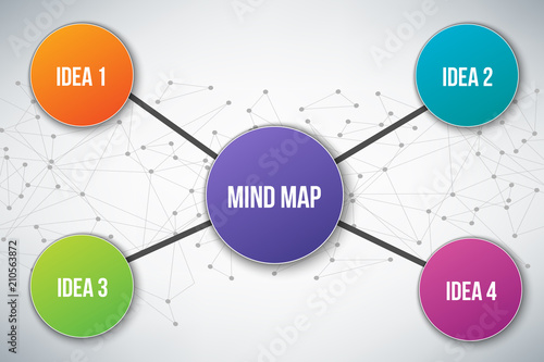 Photo  Creative vector illustration of mind map infographic template isolated on transparent background with place for your content