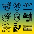 Vector icon set about airport with 9 icons related to turbine, man, business, silhouette and black