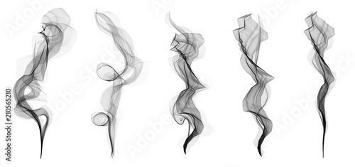 Poster Fumee Creative vector illustration of delicate white cigarette smoke waves texture set isolated on transparent background. Art design. Abstract concept graphic element