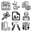 Vector icon set about education with 9 icons related to write, room, tube, course and lab