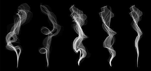 Creative vector illustration of delicate white cigarette smoke waves texture set isolated on transparent background. Art design. Abstract concept graphic element