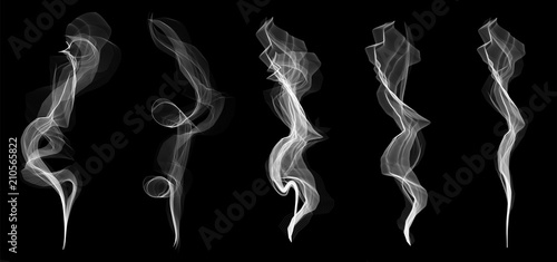 Photo sur Aluminium Fumee Creative vector illustration of delicate white cigarette smoke waves texture set isolated on transparent background. Art design. Abstract concept graphic element