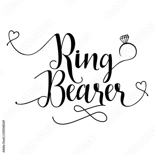 Photo Ring Bearer - Hand lettering typography text in vector eps 10