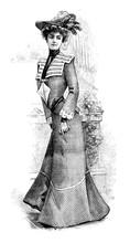 Old Model Wearing Vintage Dress With Hat