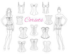 Corsets Collection With Beautiful Fashion Models, Vector Illustration.