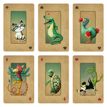 Drawing  Fantasy Cartoon Character Set Animals Wonderland.