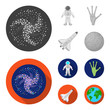 The alien hand, the space shuttle ship Space Shuttle, the astronaut in the spacesuit, the black hole with the stars. Space set collection icons in monochrome,flat style vector symbol stock