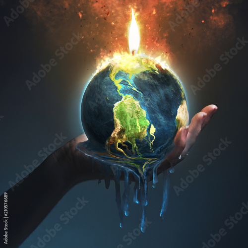 Melting earth in palm of hand