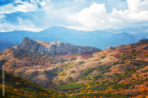 Recess Fitting Deep brown beautiful view of the mountains of Karadag in sunrise, Crimea