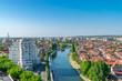 Oradea - Crisul River near the Union Square in Oradea, Romania
