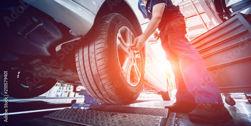 Automotive suspension test and brake test rolls in a auto repair service Canvas Print