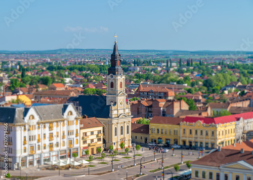 Fototapety, obrazy: Oradea - Church with the moon in the Union Square viewed from above in Oradea, Romania
