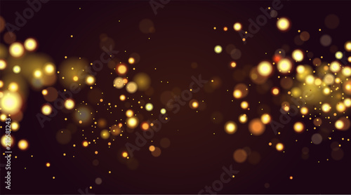 Fototapeta Abstract defocused circular golden bokeh sparkle glitter lights background. Magic christmas background. Elegant, shiny, metallic gold background. EPS 10 obraz na płótnie