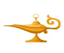 Oil Lamp Illustration. Aladdin Magic Or Genie Lamp. Flat Style Vector Illustration. Isolated On White Background