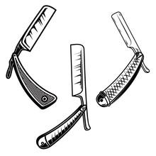 Set Og Retro Style Barber Razors. Design Element For Poster, Card, Banner, Sign, Emblem.