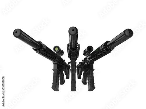 Three modern assault rifles with silencers Canvas Print